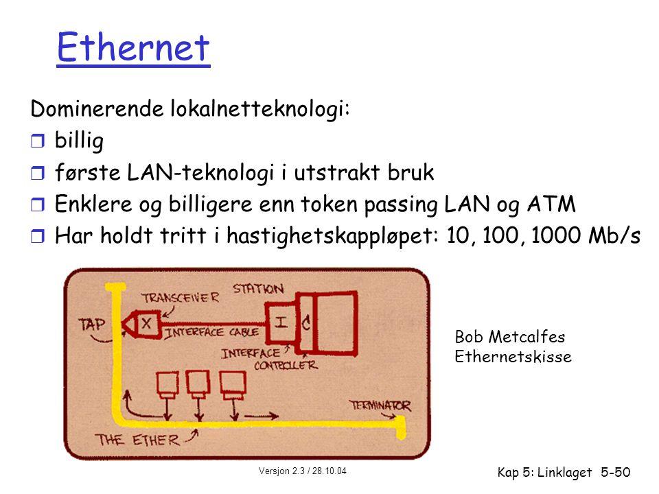 Versjon 2.3 / 28.10.04 Kap 5: Linklaget5-50 Ethernet Dominerende lokalnetteknologi: r billig r første LAN-teknologi i utstrakt bruk r Enklere og billi