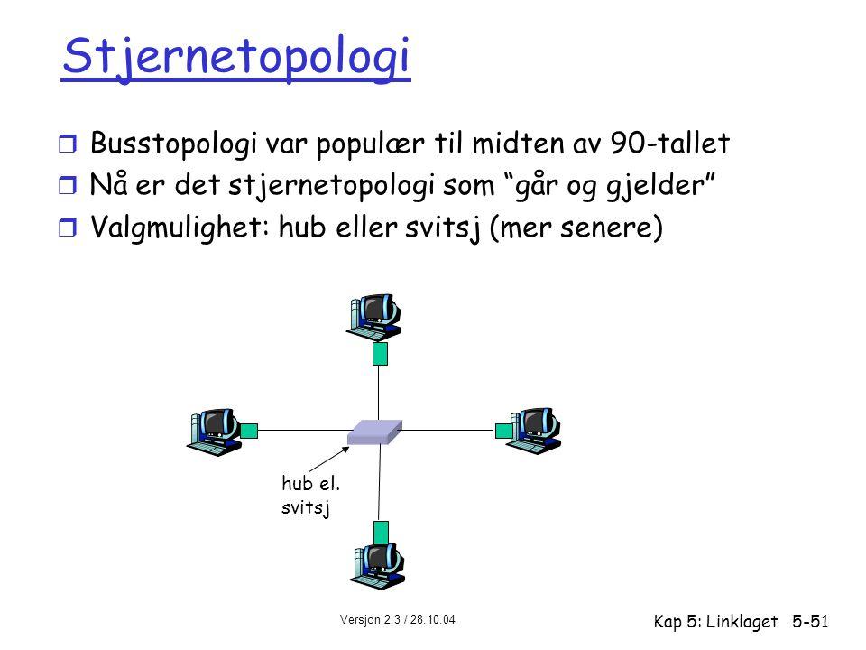 """Versjon 2.3 / 28.10.04 Kap 5: Linklaget5-51 Stjernetopologi r Busstopologi var populær til midten av 90-tallet r Nå er det stjernetopologi som """"går og"""