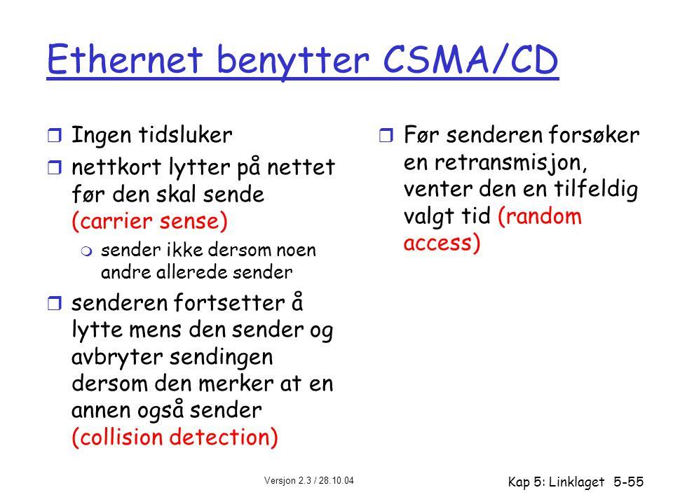 Versjon 2.3 / 28.10.04 Kap 5: Linklaget5-55 Ethernet benytter CSMA/CD r Ingen tidsluker r nettkort lytter på nettet før den skal sende (carrier sense)