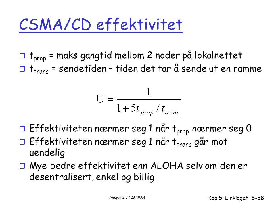 Versjon 2.3 / 28.10.04 Kap 5: Linklaget5-58 CSMA/CD effektivitet r t prop = maks gangtid mellom 2 noder på lokalnettet r t trans = sendetiden – tiden