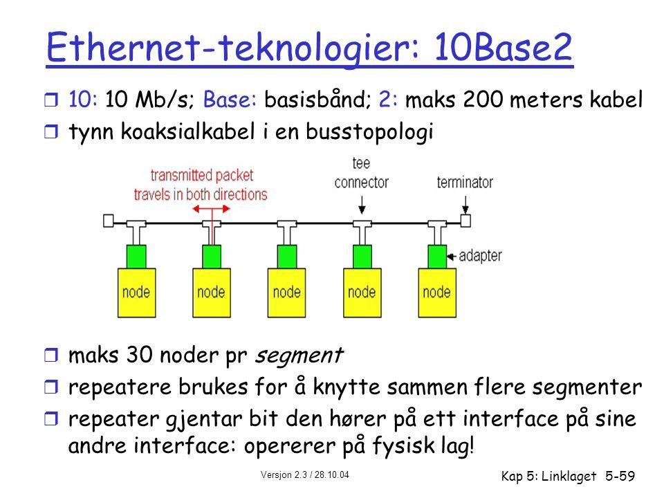 Versjon 2.3 / 28.10.04 Kap 5: Linklaget5-59 Ethernet-teknologier: 10Base2 r 10: 10 Mb/s; Base: basisbånd; 2: maks 200 meters kabel r tynn koaksialkabe