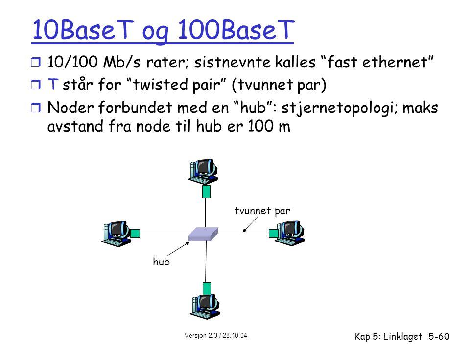 """Versjon 2.3 / 28.10.04 Kap 5: Linklaget5-60 10BaseT og 100BaseT r 10/100 Mb/s rater; sistnevnte kalles """"fast ethernet"""" r T står for """"twisted pair"""" (tv"""