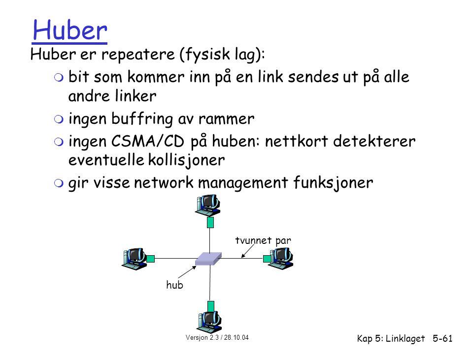 Versjon 2.3 / 28.10.04 Kap 5: Linklaget5-61 Huber Huber er repeatere (fysisk lag): m bit som kommer inn på en link sendes ut på alle andre linker m in
