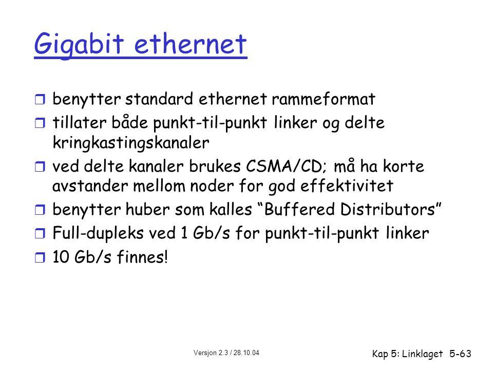 Versjon 2.3 / 28.10.04 Kap 5: Linklaget5-63 Gigabit ethernet r benytter standard ethernet rammeformat r tillater både punkt-til-punkt linker og delte