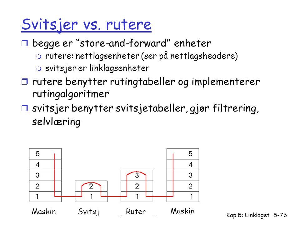 """Versjon 2.3 / 28.10.04 Kap 5: Linklaget5-76 Svitsjer vs. rutere r begge er """"store-and-forward"""" enheter m rutere: nettlagsenheter (ser på nettlagsheade"""