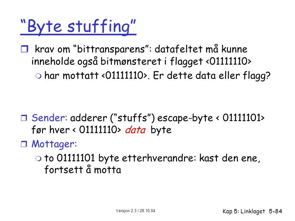 """Versjon 2.3 / 28.10.04 Kap 5: Linklaget5-84 """"Byte stuffing"""" r krav om """"bittransparens"""": datafeltet må kunne inneholde også bitmønsteret i flagget m ha"""