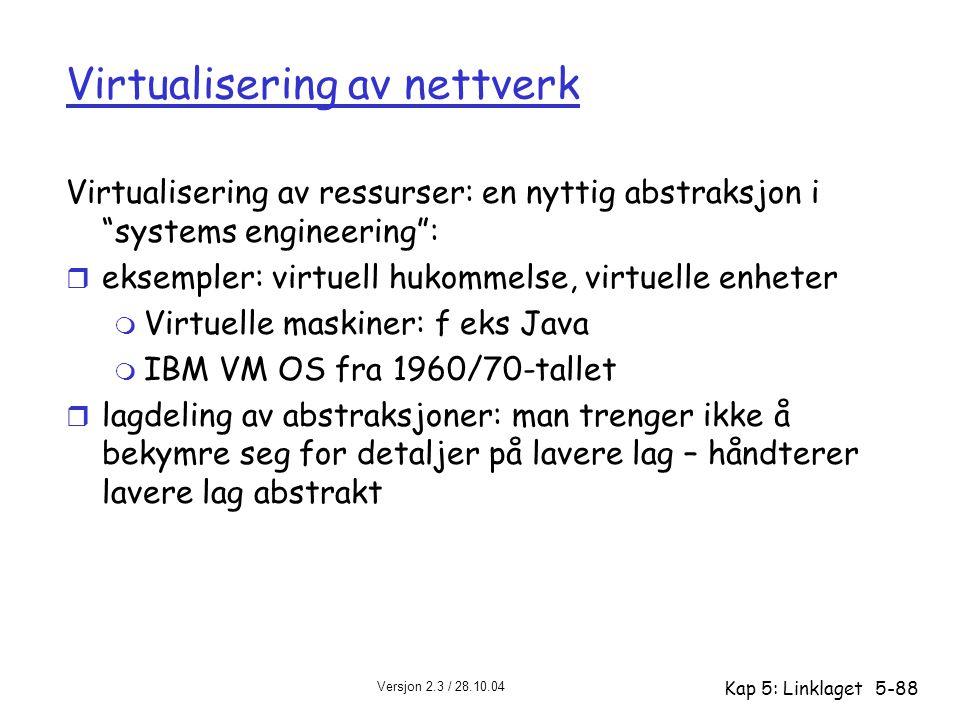 """Versjon 2.3 / 28.10.04 Kap 5: Linklaget5-88 Virtualisering av nettverk Virtualisering av ressurser: en nyttig abstraksjon i """"systems engineering"""": r e"""