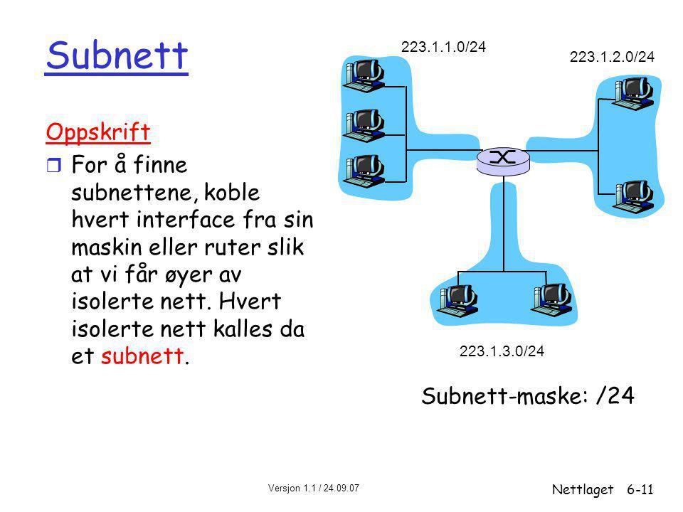 Versjon 1.1 / 24.09.07 Nettlaget6-11 Subnett 223.1.1.0/24 223.1.2.0/24 223.1.3.0/24 Oppskrift r For å finne subnettene, koble hvert interface fra sin maskin eller ruter slik at vi får øyer av isolerte nett.
