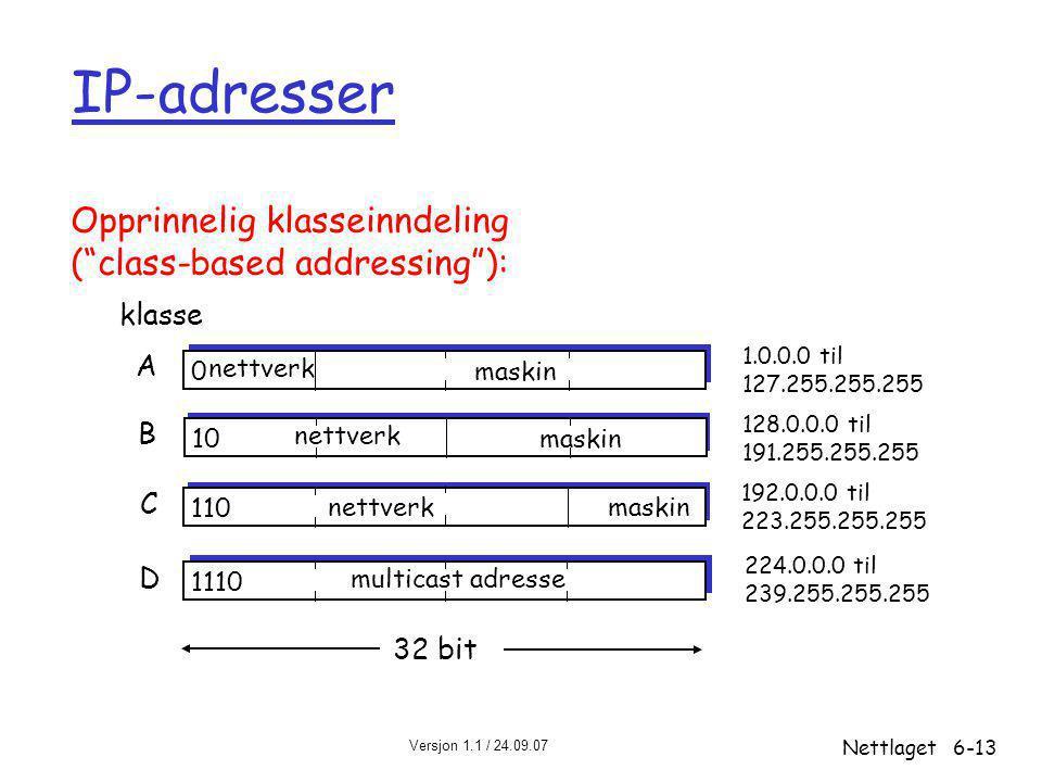 Versjon 1.1 / 24.09.07 Nettlaget6-13 IP-adresser 0 nettverk maskin 10 nettverk maskin 110 nettverkmaskin 1110 multicast adresse A B C D klasse 1.0.0.0