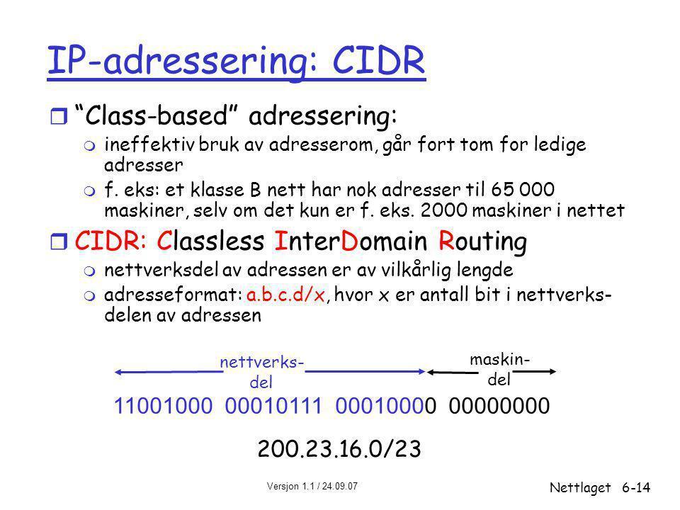 Versjon 1.1 / 24.09.07 Nettlaget6-14 IP-adressering: CIDR r Class-based adressering: m ineffektiv bruk av adresserom, går fort tom for ledige adresser m f.