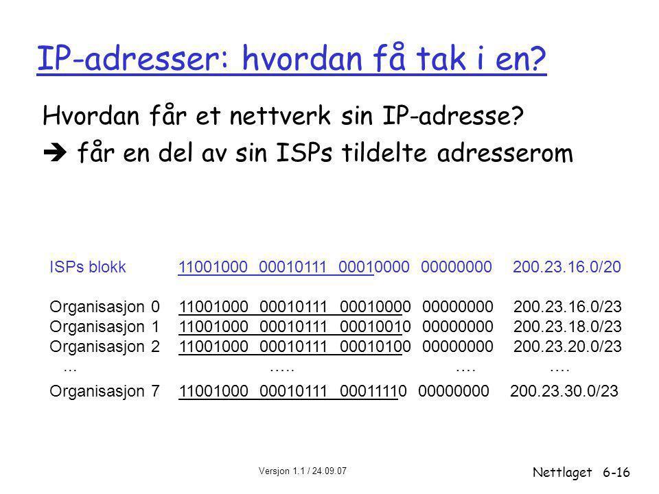 Versjon 1.1 / 24.09.07 Nettlaget6-16 IP-adresser: hvordan få tak i en? Hvordan får et nettverk sin IP-adresse?  får en del av sin ISPs tildelte adres