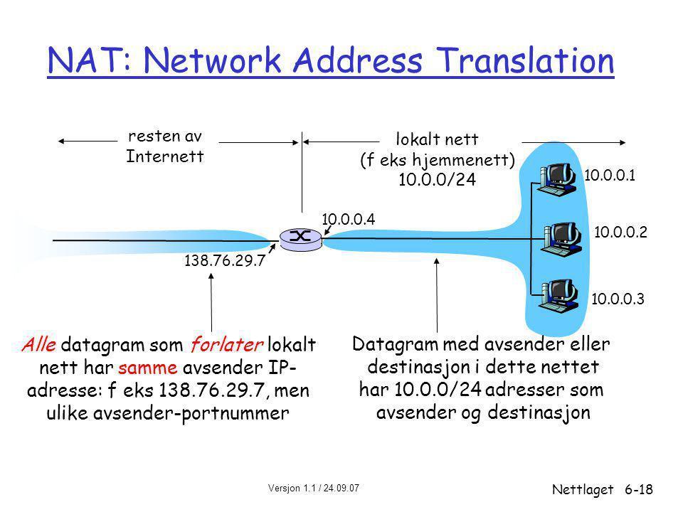 Versjon 1.1 / 24.09.07 Nettlaget6-18 NAT: Network Address Translation 10.0.0.1 10.0.0.2 10.0.0.3 10.0.0.4 138.76.29.7 lokalt nett (f eks hjemmenett) 10.0.0/24 resten av Internett Datagram med avsender eller destinasjon i dette nettet har 10.0.0/24 adresser som avsender og destinasjon Alle datagram som forlater lokalt nett har samme avsender IP- adresse: f eks 138.76.29.7, men ulike avsender-portnummer