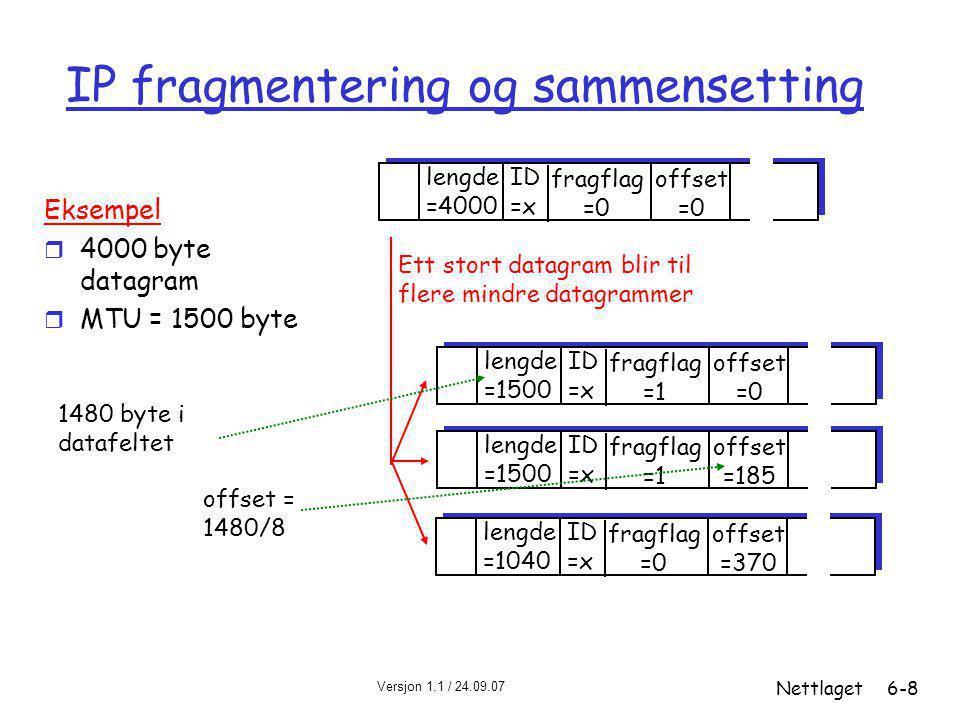 Versjon 1.1 / 24.09.07 Nettlaget6-8 IP fragmentering og sammensetting ID =x offset =0 fragflag =0 lengde =4000 ID =x offset =0 fragflag =1 lengde =1500 ID =x offset =185 fragflag =1 lengde =1500 ID =x offset =370 fragflag =0 lengde =1040 Ett stort datagram blir til flere mindre datagrammer Eksempel r 4000 byte datagram r MTU = 1500 byte 1480 byte i datafeltet offset = 1480/8