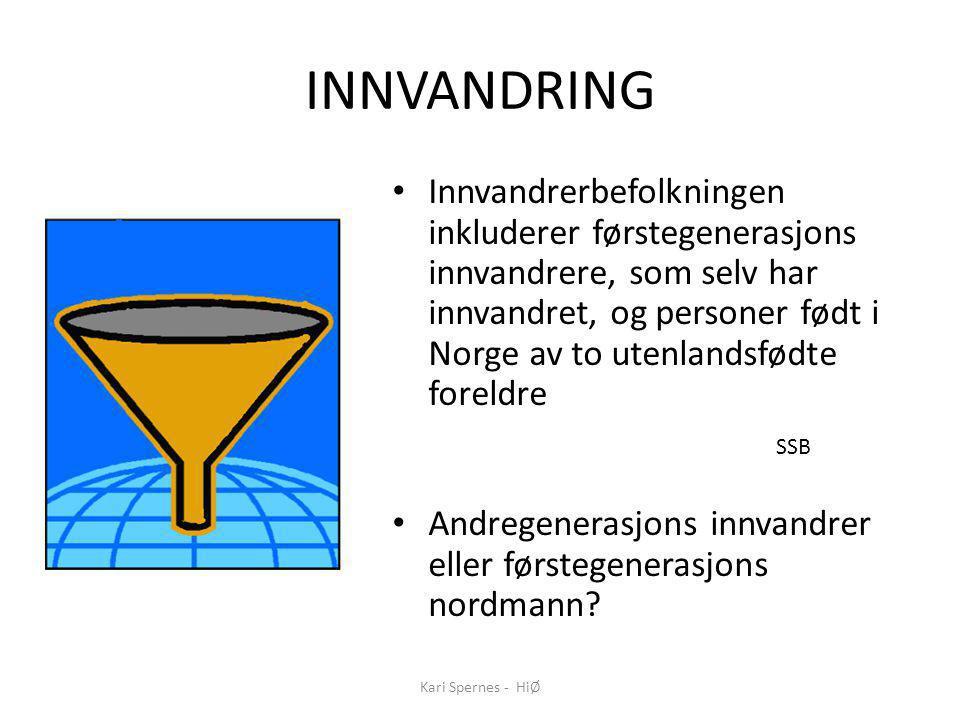 INNVANDRING Innvandrerbefolkningen inkluderer førstegenerasjons innvandrere, som selv har innvandret, og personer født i Norge av to utenlandsfødte foreldre SSB Andregenerasjons innvandrer eller førstegenerasjons nordmann.