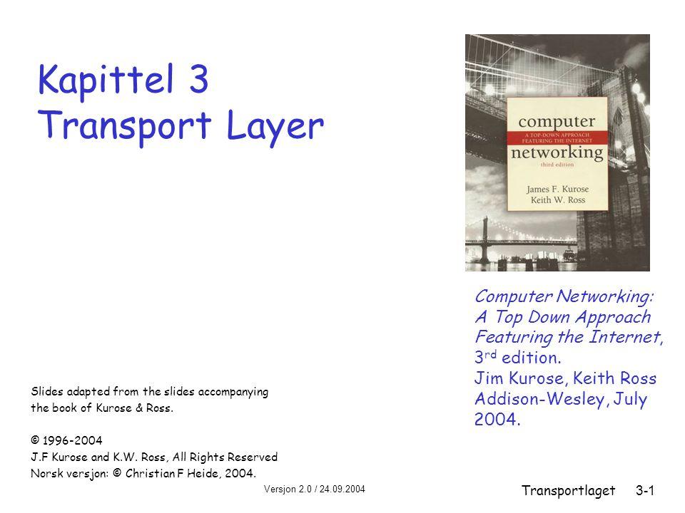 Versjon 2.0 / 24.09.2004 Transportlaget3-42 Pipelining: øket utnyttelse av kapasiteten første bit sendt, t = 0 sendermottager RTT siste bit i pakken sendt, t = L / R første bit ankommer siste bit ankommer, send ACK ACK ankommer, send neste pakke, t = RTT + L / R siste bit i pakke 2 ankommer, send ACK siste bit i pakke 3 ankommer, send ACK Linjeutnyttelsen øker med en faktor 3!