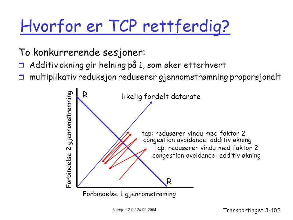 Versjon 2.0 / 24.09.2004 Transportlaget3-102 Hvorfor er TCP rettferdig.