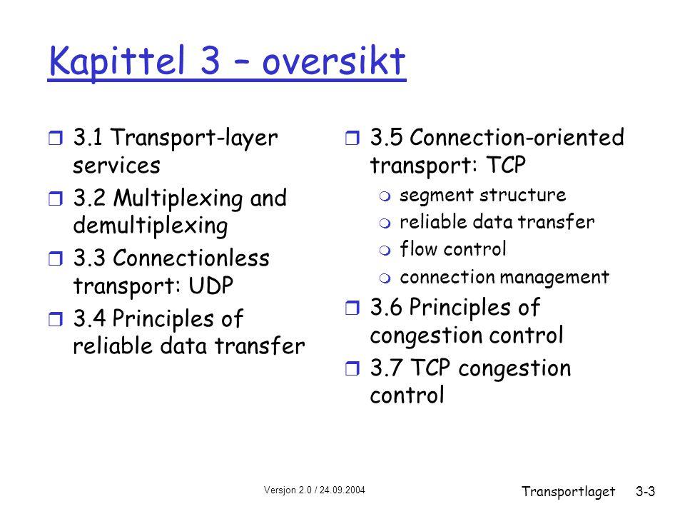 Versjon 2.0 / 24.09.2004 Transportlaget3-64 TCP: pålitelig dataoverføring r TCP gir en rdt-tjeneste basert oppå IPs upålitelige tjeneste r Pipelining av segmenter r Kumulative kvitteringer r TCP benytter bare én retransmisjonstimer r Retransmisjoner trigges av: m timeout m dupliserte kvitteringer r Ser først på en forenklet TCP-sender: m ignorér dupliserte ACK m ignorér flytkontroll og metningskontroll