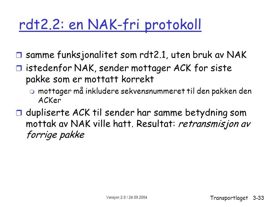 Versjon 2.0 / 24.09.2004 Transportlaget3-33 rdt2.2: en NAK-fri protokoll r samme funksjonalitet som rdt2.1, uten bruk av NAK r istedenfor NAK, sender mottager ACK for siste pakke som er mottatt korrekt m mottager må inkludere sekvensnummeret til den pakken den ACKer r dupliserte ACK til sender har samme betydning som mottak av NAK ville hatt.