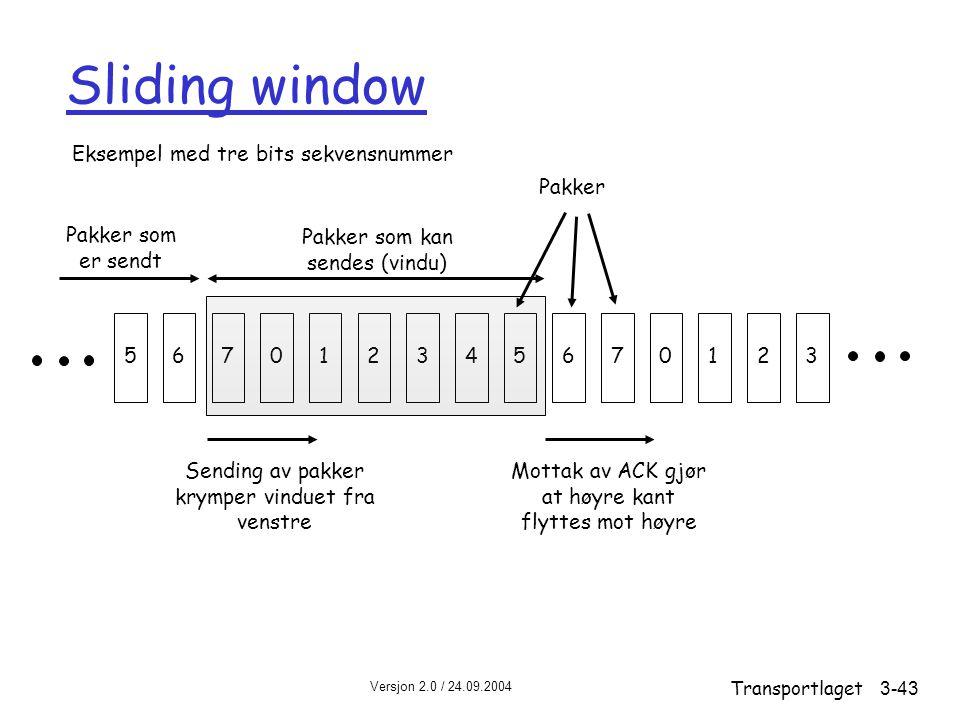 Versjon 2.0 / 24.09.2004 Transportlaget3-43 Sliding window 567012345670123 Pakker som er sendt Pakker som kan sendes (vindu) Sending av pakker krymper vinduet fra venstre Mottak av ACK gjør at høyre kant flyttes mot høyre Pakker Eksempel med tre bits sekvensnummer