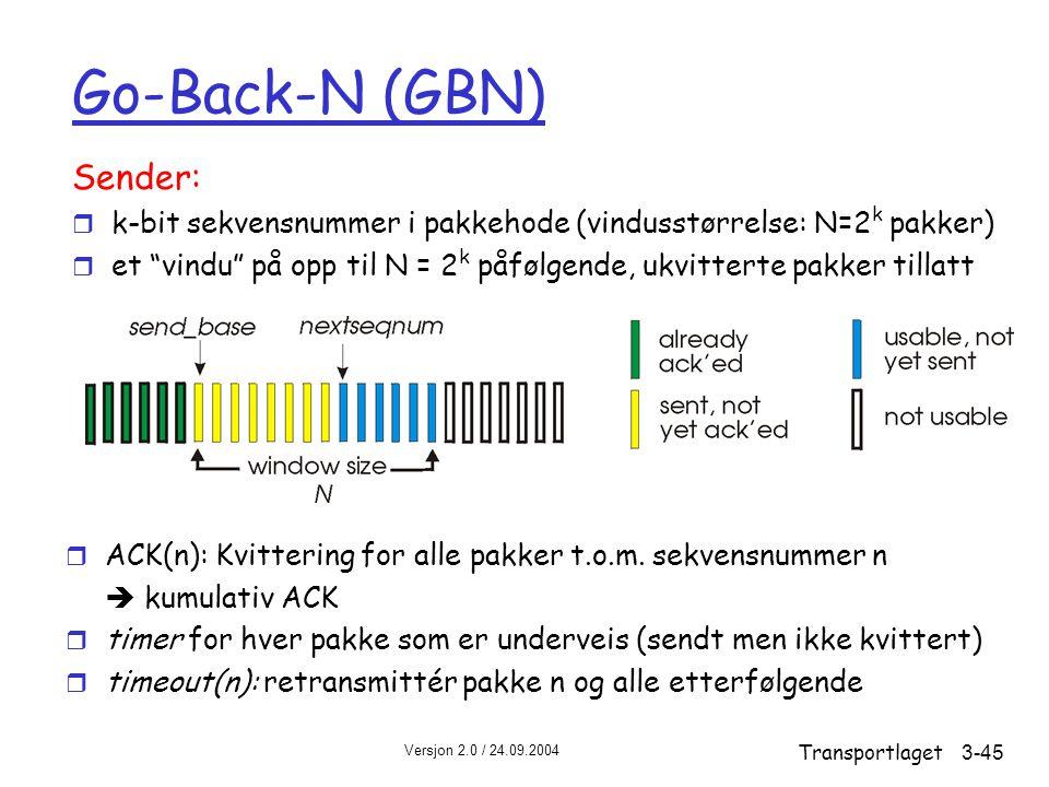 Versjon 2.0 / 24.09.2004 Transportlaget3-45 Go-Back-N (GBN) Sender: r k-bit sekvensnummer i pakkehode (vindusstørrelse: N=2 k pakker) r et vindu på opp til N = 2 k påfølgende, ukvitterte pakker tillatt r ACK(n): Kvittering for alle pakker t.o.m.