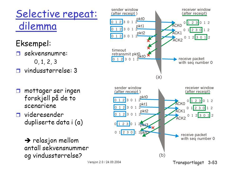 Versjon 2.0 / 24.09.2004 Transportlaget3-53 Selective repeat: dilemma Eksempel: r sekvensnumre: 0, 1, 2, 3 r vindusstørrelse: 3 r mottager ser ingen forskjell på de to scenariene r videresender dupliserte data i (a)  relasjon mellom antall sekvensnummer og vindusstørrelse?