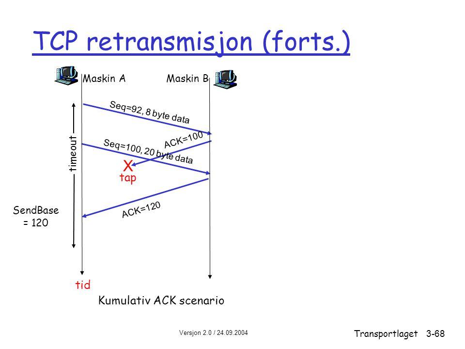 Versjon 2.0 / 24.09.2004 Transportlaget3-68 TCP retransmisjon (forts.) Maskin A Seq=92, 8 byte data ACK=100 tap timeout Kumulativ ACK scenario Maskin B X Seq=100, 20 byte data ACK=120 tid SendBase = 120