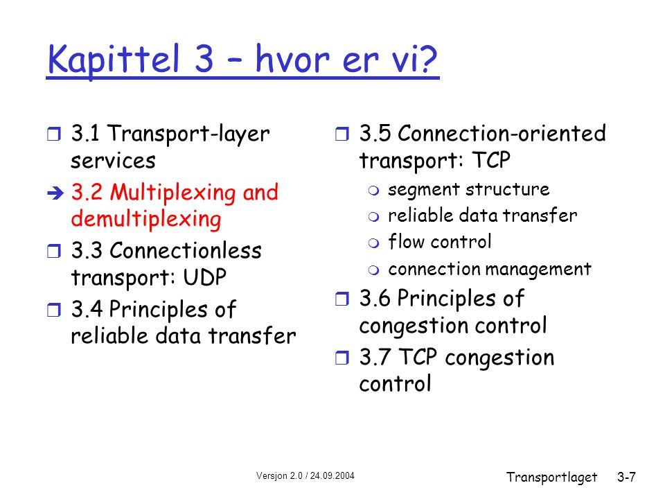 Versjon 2.0 / 24.09.2004 Transportlaget3-7 Kapittel 3 – hvor er vi? r 3.1 Transport-layer services è 3.2 Multiplexing and demultiplexing r 3.3 Connect