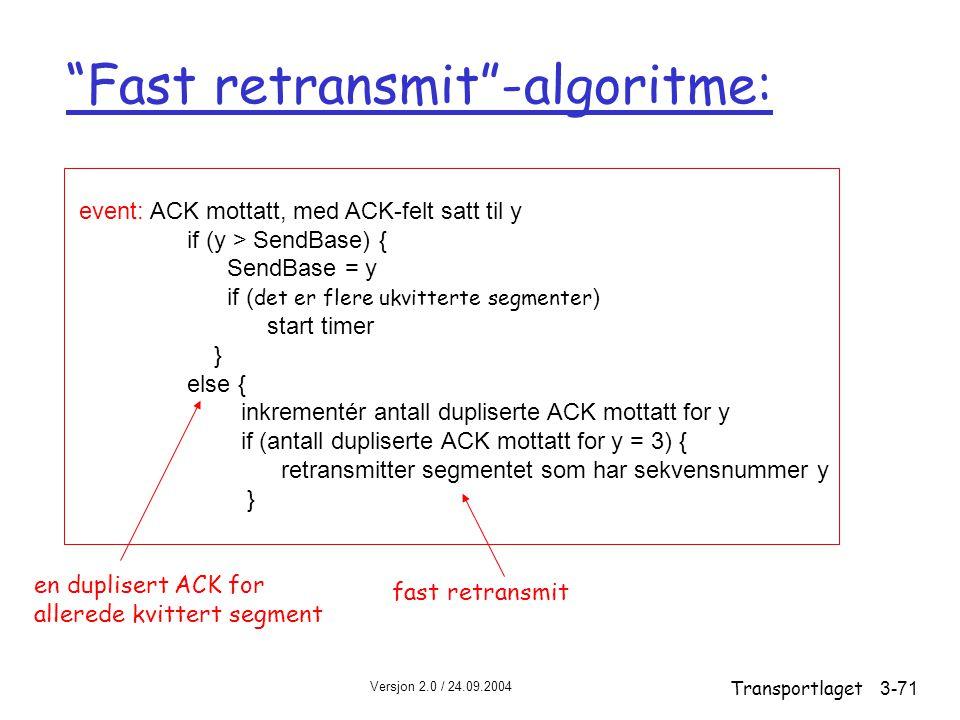 Versjon 2.0 / 24.09.2004 Transportlaget3-71 event: ACK mottatt, med ACK-felt satt til y if (y > SendBase) { SendBase = y if ( det er flere ukvitterte segmenter ) start timer } else { inkrementér antall dupliserte ACK mottatt for y if (antall dupliserte ACK mottatt for y = 3) { retransmitter segmentet som har sekvensnummer y } Fast retransmit -algoritme: en duplisert ACK for allerede kvittert segment fast retransmit