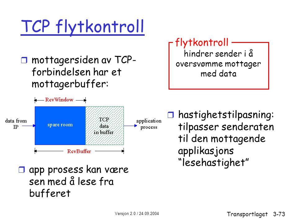 Versjon 2.0 / 24.09.2004 Transportlaget3-73 TCP flytkontroll r mottagersiden av TCP- forbindelsen har et mottagerbuffer: r hastighetstilpasning: tilpasser senderaten til den mottagende applikasjons lesehastighet r app prosess kan være sen med å lese fra bufferet hindrer sender i å oversvømme mottager med data flytkontroll