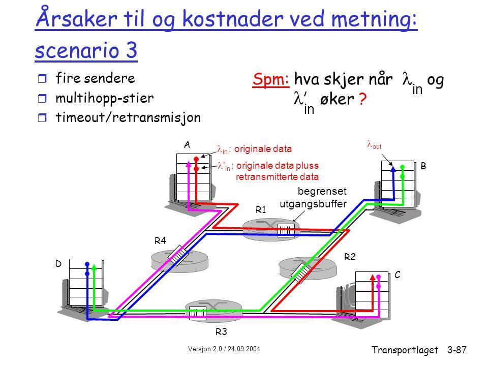Versjon 2.0 / 24.09.2004 Transportlaget3-87 Årsaker til og kostnader ved metning: scenario 3 r fire sendere r multihopp-stier r timeout/retransmisjon in Spm: hva skjer når og øker .