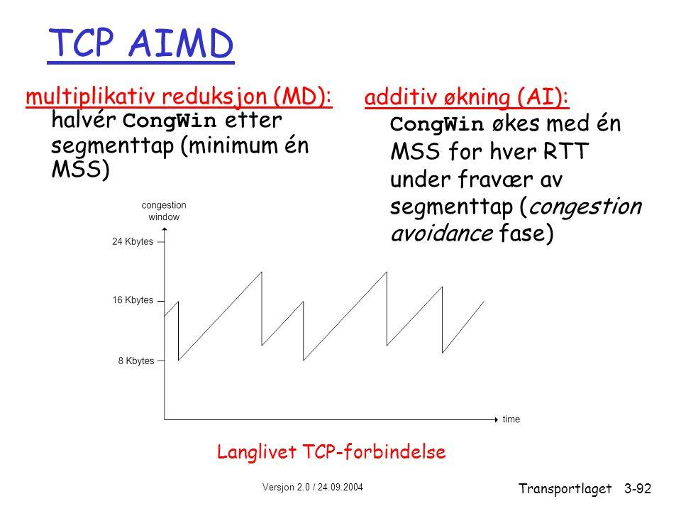 Versjon 2.0 / 24.09.2004 Transportlaget3-92 TCP AIMD multiplikativ reduksjon (MD): halvér CongWin etter segmenttap (minimum én MSS) additiv økning (AI): CongWin økes med én MSS for hver RTT under fravær av segmenttap (congestion avoidance fase) Langlivet TCP-forbindelse