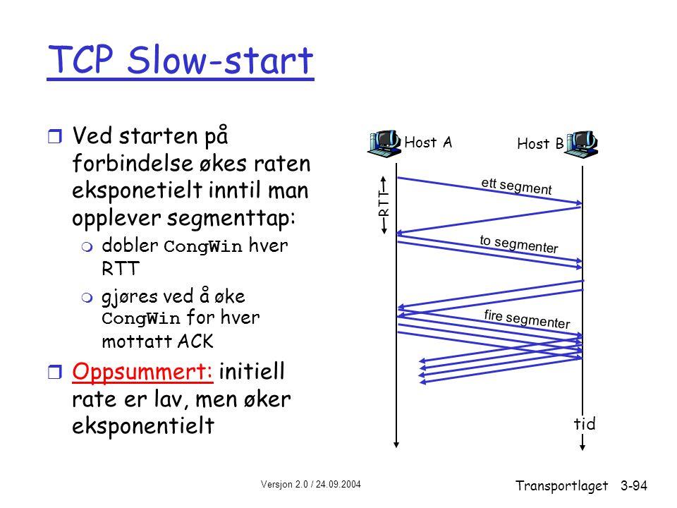 Versjon 2.0 / 24.09.2004 Transportlaget3-94 TCP Slow-start r Ved starten på forbindelse økes raten eksponetielt inntil man opplever segmenttap:  dobler CongWin hver RTT  gjøres ved å øke CongWin for hver mottatt ACK r Oppsummert: initiell rate er lav, men øker eksponentielt Host A ett segment RTT Host B tid to segmenter fire segmenter