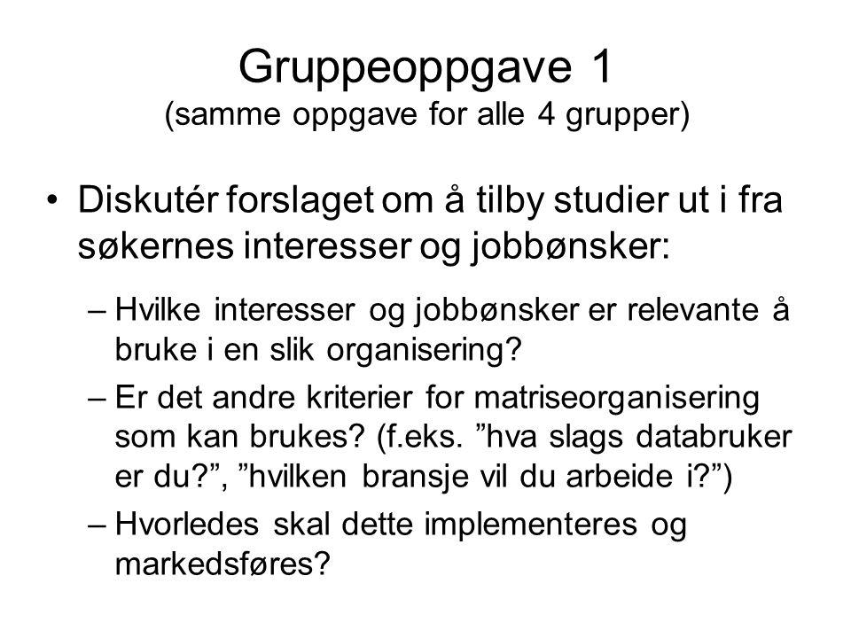 Gruppeoppgave 1 (samme oppgave for alle 4 grupper) Diskutér forslaget om å tilby studier ut i fra søkernes interesser og jobbønsker: –Hvilke interesse