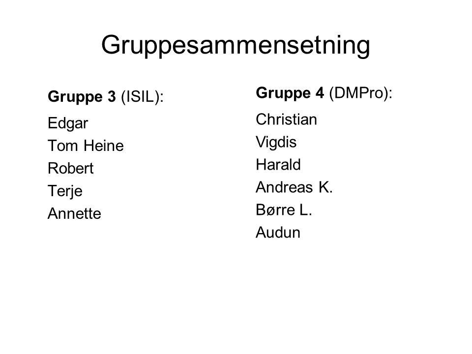 Gruppesammensetning Gruppe 3 (ISIL): Edgar Tom Heine Robert Terje Annette Gruppe 4 (DMPro): Christian Vigdis Harald Andreas K.