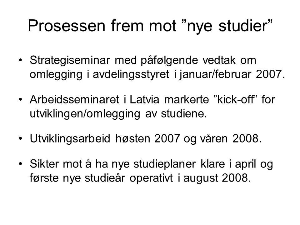 Prosessen frem mot nye studier Strategiseminar med påfølgende vedtak om omlegging i avdelingsstyret i januar/februar 2007.