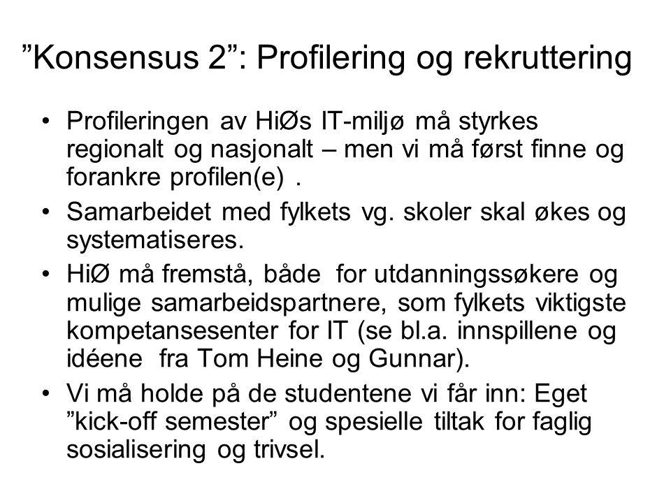 Konsensus 2 : Profilering og rekruttering Profileringen av HiØs IT-miljø må styrkes regionalt og nasjonalt – men vi må først finne og forankre profilen(e).