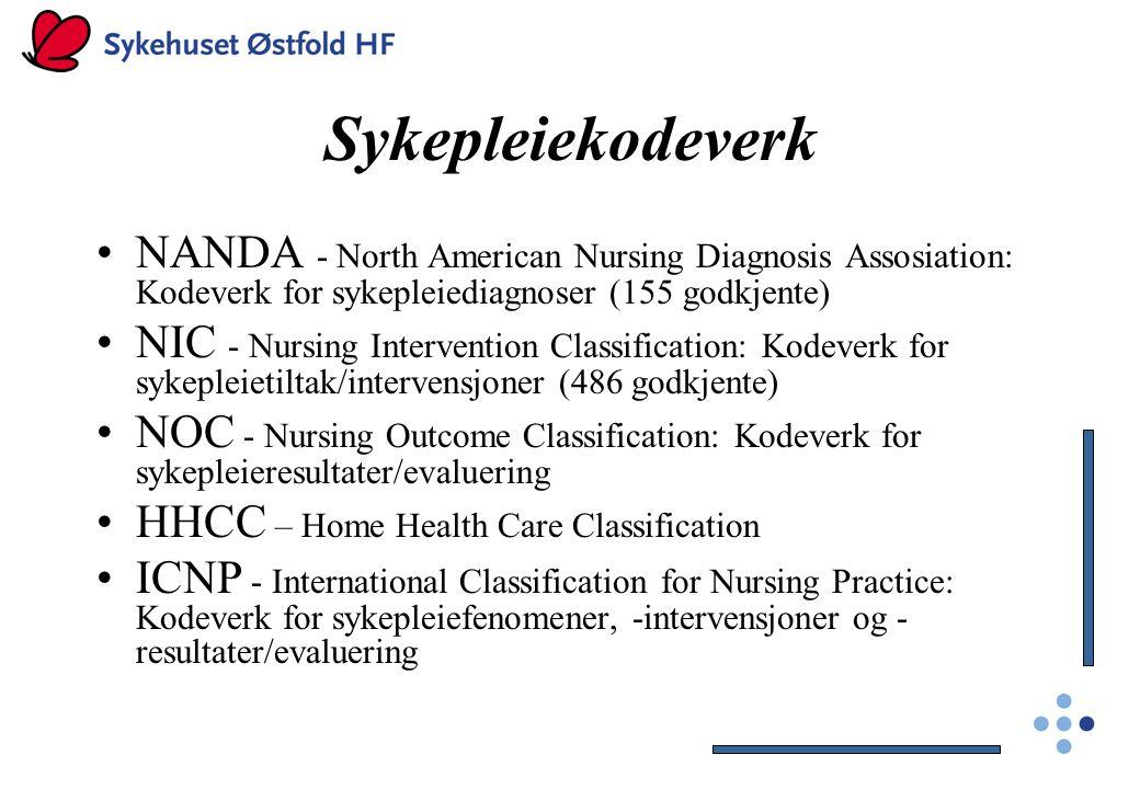 Sykepleiekodeverk NANDA - North American Nursing Diagnosis Assosiation: Kodeverk for sykepleiediagnoser (155 godkjente) NIC - Nursing Intervention Cla