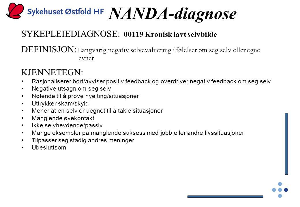 NANDA-diagnose SYKEPLEIEDIAGNOSE: 00119 Kronisk lavt selvbilde DEFINISJON: Langvarig negativ selvevaluering / følelser om seg selv eller egne evner KJ