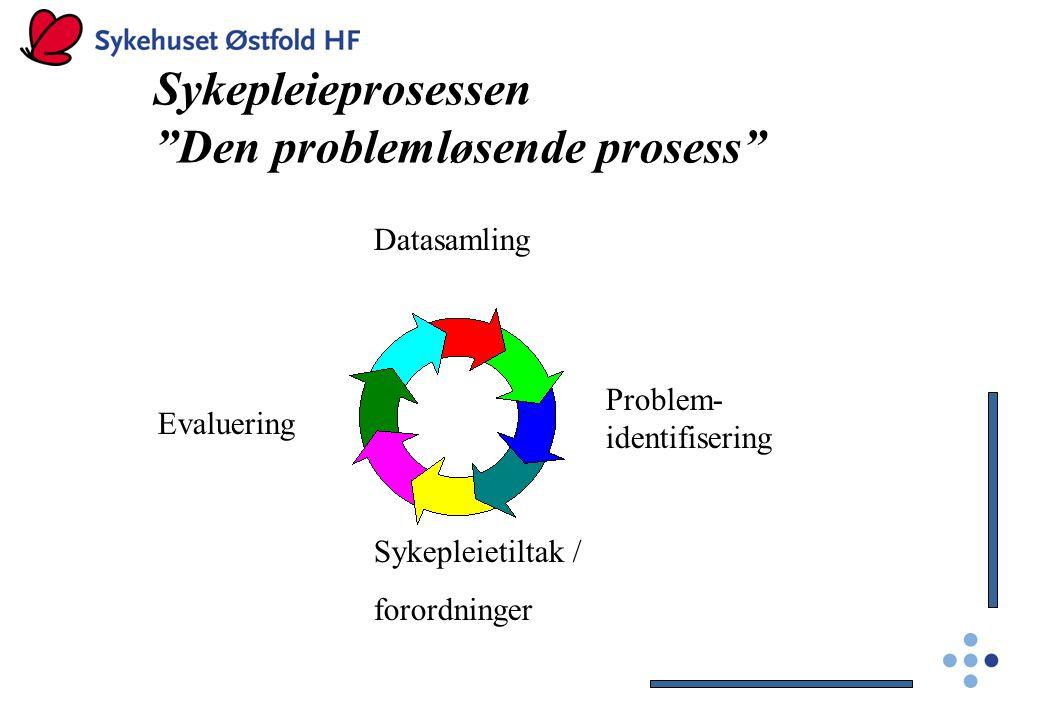 """Sykepleieprosessen """"Den problemløsende prosess"""" Datasamling Problem- identifisering Sykepleietiltak / forordninger Evaluering"""