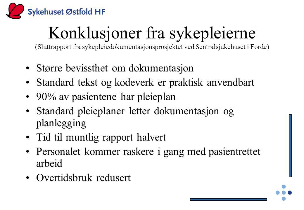Konklusjoner fra sykepleierne (Sluttrapport fra sykepleiedokumentasjonsprosjektet ved Sentralsjukehuset i Førde) Større bevissthet om dokumentasjon St