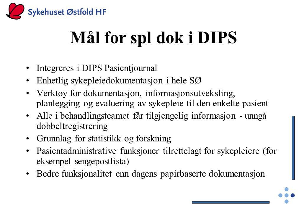 Mål for spl dok i DIPS Integreres i DIPS Pasientjournal Enhetlig sykepleiedokumentasjon i hele SØ Verktøy for dokumentasjon, informasjonsutveksling, p