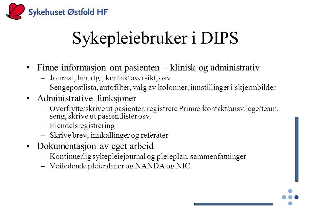 Sykepleiebruker i DIPS Finne informasjon om pasienten – klinisk og administrativ –Journal, lab, rtg., kontaktoversikt, osv –Sengepostlista, autofilter