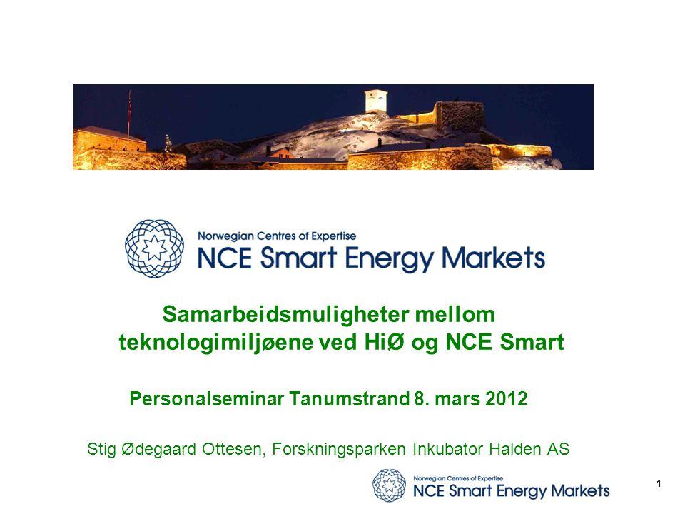Samarbeidsmuligheter mellom teknologimiljøene ved HiØ og NCE Smart Personalseminar Tanumstrand 8. mars 2012 Stig Ødegaard Ottesen, Forskningsparken In