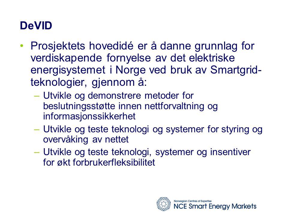 DeVID Prosjektets hovedidé er å danne grunnlag for verdiskapende fornyelse av det elektriske energisystemet i Norge ved bruk av Smartgrid- teknologier, gjennom å: –Utvikle og demonstrere metoder for beslutningsstøtte innen nettforvaltning og informasjonssikkerhet –Utvikle og teste teknologi og systemer for styring og overvåking av nettet –Utvikle og teste teknologi, systemer og insentiver for økt forbrukerfleksibilitet