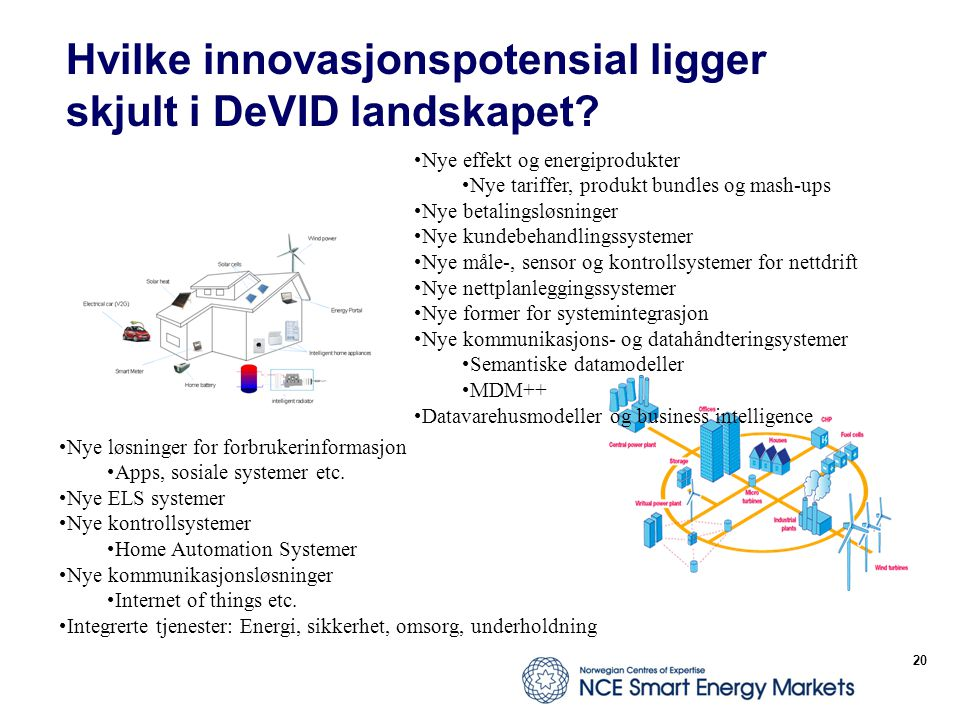 Hvilke innovasjonspotensial ligger skjult i DeVID landskapet? 20 Nye løsninger for forbrukerinformasjon Apps, sosiale systemer etc. Nye ELS systemer N