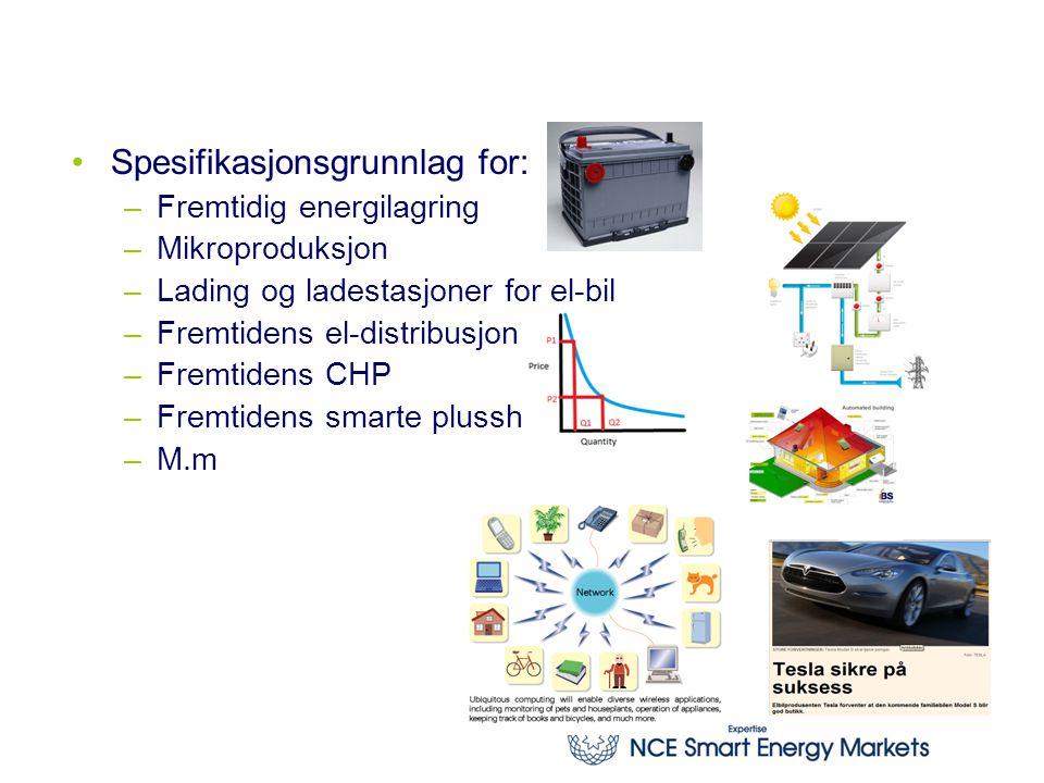 Legge premisser for hardvareutvikling Spesifikasjonsgrunnlag for: –Fremtidig energilagring –Mikroproduksjon –Lading og ladestasjoner for el-bil –Fremtidens el-distribusjon –Fremtidens CHP –Fremtidens smarte plusshus –M.m