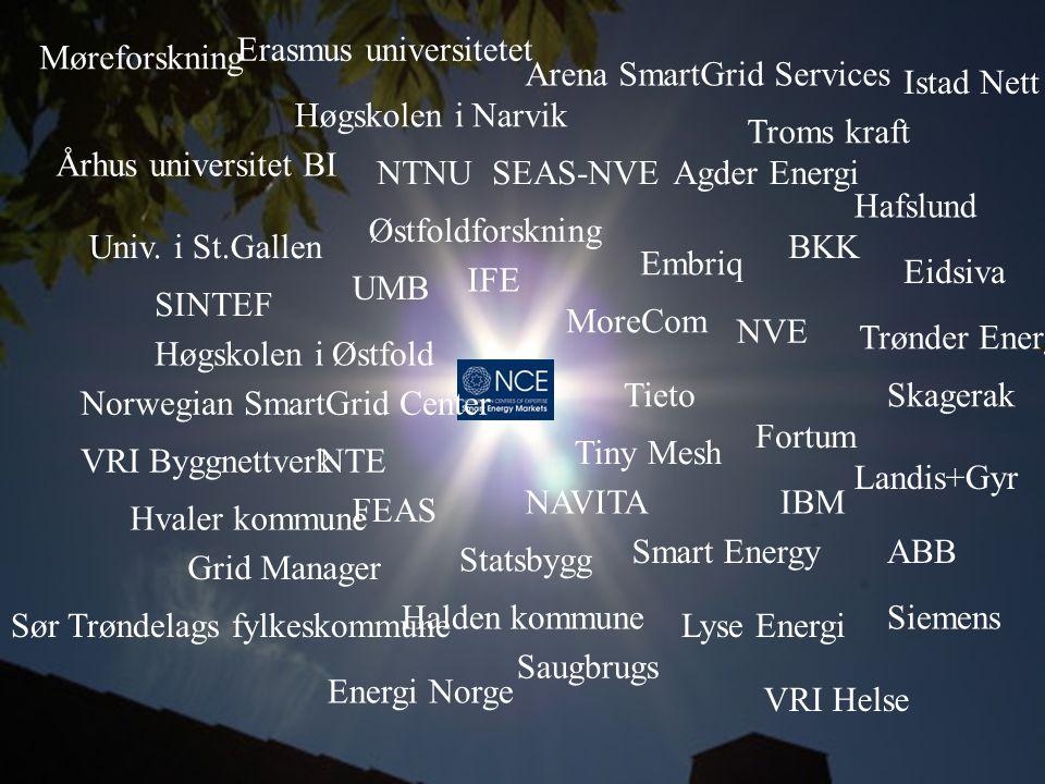Univ. i St.Gallen Århus universitet UMB BI Høgskolen i Østfold Høgskolen i Narvik Erasmus universitetet NTNU Østfoldforskning Møreforskning SINTEF IFE