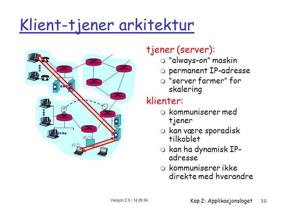 """Versjon 2.0 / 14.09.04 Kap 2: Applikasjonslaget10 Klient-tjener arkitektur tjener (server): m """"always-on"""" maskin m permanent IP-adresse m """"server farm"""