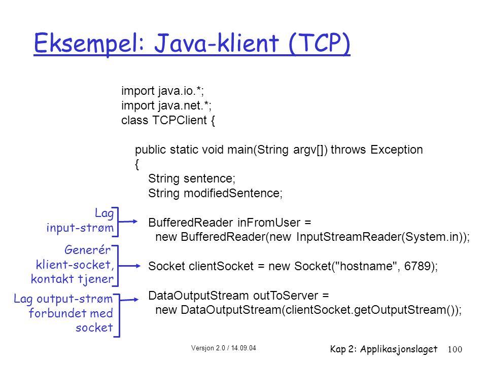 Versjon 2.0 / 14.09.04 Kap 2: Applikasjonslaget100 Eksempel: Java-klient (TCP) import java.io.*; import java.net.*; class TCPClient { public static vo