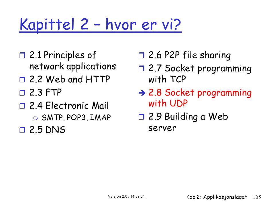 Versjon 2.0 / 14.09.04 Kap 2: Applikasjonslaget105 Kapittel 2 – hvor er vi? r 2.1 Principles of network applications r 2.2 Web and HTTP r 2.3 FTP r 2.
